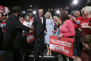 Bill and Chloe Shorten arrive the Reid event during the first days of the campaign.