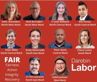 Ms Kotanidis is one of 10 candidates  in a group called Labor Members for Darebin.
