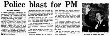 Bryan Harding versus the prime minister in The Age, April 1978.