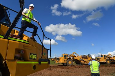 Deputy Prime Minster Michael McCormack at the Western Sydney Airport project earlier this year. It is receiving extra funding as part of federal government efforts to protect the economy.