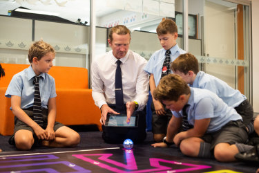 Learning with a Sphero programmable robot at Mosman Church of England Preparatory School.