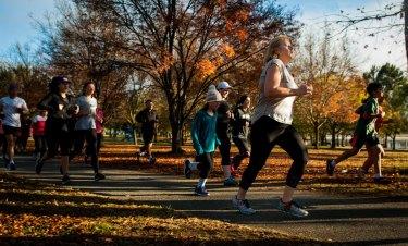 Canberra Parkrunners enjoy an autumn outing.