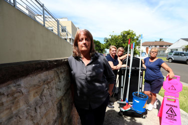 Helen Hammond, Svetlana Vicoroska, Lynne Davies and Panayota Tzolakidis, who were not offered redundancy after their cleaning jobs were terminated