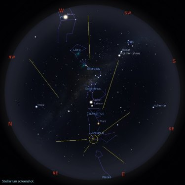 A sky chart for 3am on May 5, 2020.
