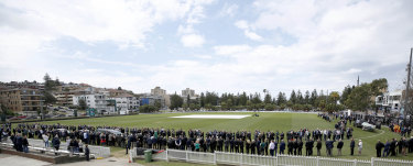 The scene at Jeffrey Sayle's beloved Coogee Oval for his funeral on Friday.