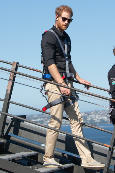 Prince Harry climbed the Sydney Harbour Bridge in October during the royal visit.