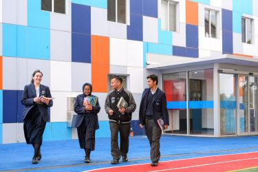 Year 12 Sirus College students Tuana Aktepe, Sumaia Khan and Sami El'Souki, and year 11 student Hamdan Yousuf.