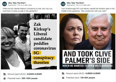 WA Labor Facebook ads have included attacks against former Opposition Leader Liza Harvey and the running of Liberal a candidate who wrote an opinion piece linking COVID-19 spread to 5G technology.