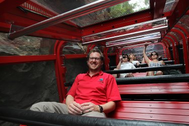 David Hammon, pictured in 2013, on the Scenic Railway at his family-run tourist attraction in the Blue Mountains.