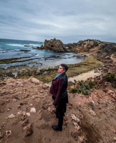 Deborah Cheetham on the coast near Port Fairy, opposite the island of Deen Maar.