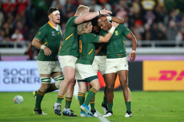 The South Africans celebrated after prevailing in the Rugby World Cup final against England.