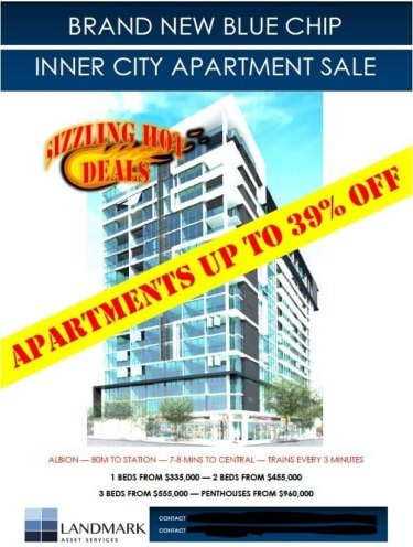 A copy of the flyer advertising apartments in The Hudson development in Brisbane's Albion.
