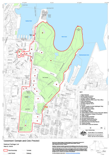 Map of the parts of Sydney now placed under federal heritage protection.
