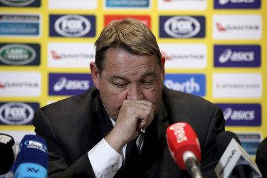 Steve Hansen speaks to the media following his team's loss.