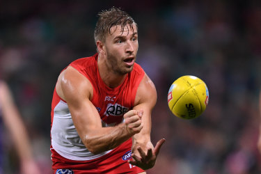 Hooking in: Kieren Jack plays his 250th game for Sydney this week, one of only nine Swans to reach the milestone.