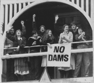 Members of Tasmanian Wilderness Society celebrate High Court decision at their Hobart head quarters. July 1, 1983.