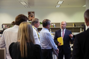 Treasurer Josh Frydenberg goes through the budget with editors and journalists of The Sydney Morning Herald and The Age during the budget lock up at Parliament House.