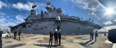 Panorama of USS Wasp as she docks at Garden Island in Sydney.