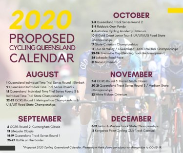 Cycling Queensland's proposed amended 2020 events calendar post-COVID.