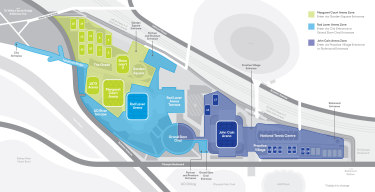How the Melbourne Park precinct has been split into three different 'zones'.