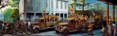 A depiction of Japanese forces occupying Manila in 1942.