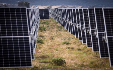 Photovoltaic modules ready to be installed  at a solar farm on the outskirts of Gunnedah in northern NSW.