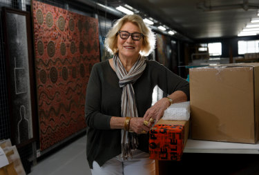Janet Holmes a Court, pictured in 2017, in the packing room where her art collection is stored in Perth.