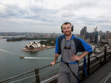 High flier Sam Smith in 2018 on the Bridge Climb.