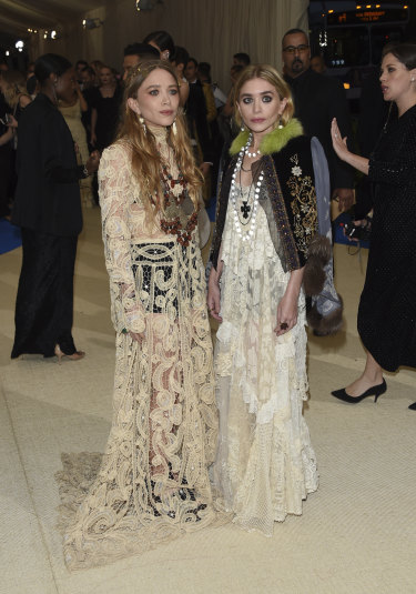 Mary-Kate Olsen and Ashley Olsen attend The Metropolitan Museum of Art's Costume Institute benefit gala celebrating the opening of the Rei Kawakubo/Comme des Garçons: Art of the In-Between exhibition on Monday, May 1, 2017, in New York.