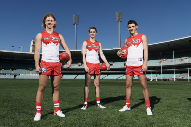 Locked away: James Rowbottom, Harry Reynolds and Justin McInerney have signed contract extensions with the Sydney Swans.