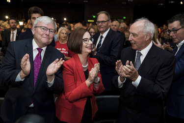Burying the hatchet: Kevin Rudd, Julia Gillard and Paul Keating at Labor's campaign launch on Sunday.