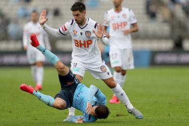 Nothing in it . . . Perth striker Bruno Fornaroli brings down Kosta Barbarouses in yesterday's scoreless draw.