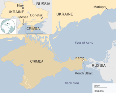 The Kerch Strait between the Azov and Black seas.A bilateral treaty grants both Russia and Ukraine the right to use the Azov Sea.