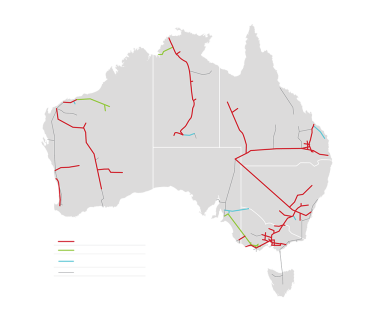 APA's gas pipeline network (in red) accounts for the majority of the nation's gas transport infrastructure. Its takeover would give CKI control of most of Australia's gas transport.