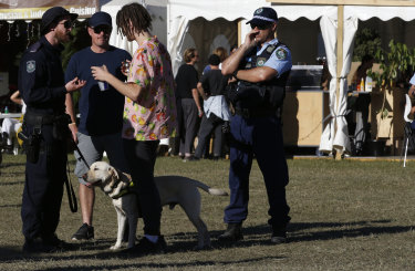A police sniffer dog squad speak to a festival goer at Splendour last Saturday.