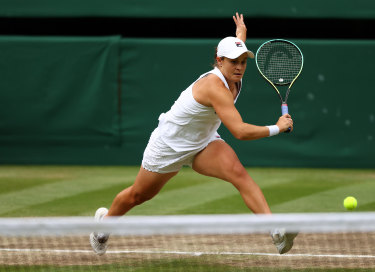 Barty plays a backhand during her winning final.
