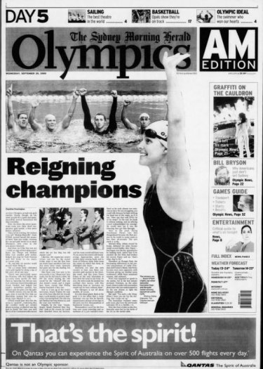 How the Herald reported Australia's latest golden run in the pool on September 20, 2000.