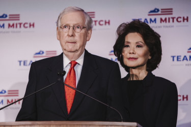 Senate majority leader Mitch McConnell, with his wife Elaine Chao on election night in November.