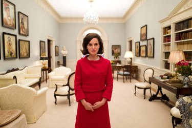 Natalie Portman in the film, Jackie. She's pictured in the White House room Jackie Kennedy helped design.
