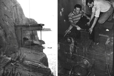 The cliff-face end of the tunnel taken in the 1950s; university research students John Webb and Phil Grouse install magnets in the underground lab in 1956.