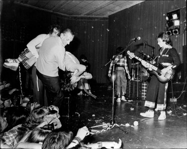 Chaotic scenes from the Bay City Rollers' Sydney concert at the Hordern Pavilion on December 4, 1975.