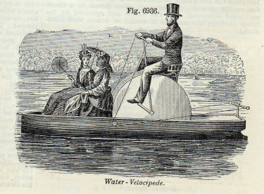 A water velocipede in 1877 - an early form of hydrocycle.