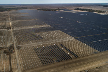 A solar farm under construction last year outside the township of Nevertire in north-western NSW.