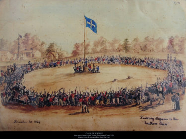 The Eureka Stockade. Canadian artist and digger Charles Doudiet's painting 'Swearing allegiance to the Southern Cross', 1854