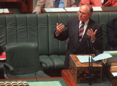 Prime Minister John Howard delivers a special statement to Parliament on guns laws in the wake of the Port Arthur massacre. May 6, 1996