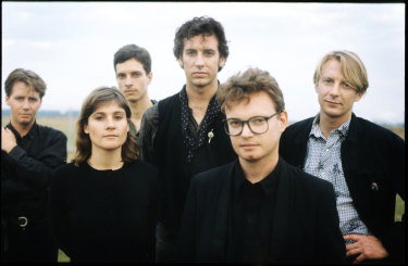 The Triffids, from left, Martyn Casey, Jill Birt,  Alsy MacDonald,  David McComb,  Graham Lee and Robert McComb, in Belgium in August 1988.