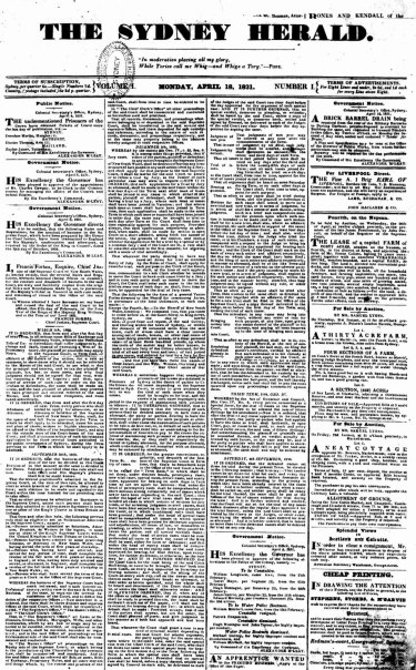 The front page of the first Herald, published on  April 18, 1831.