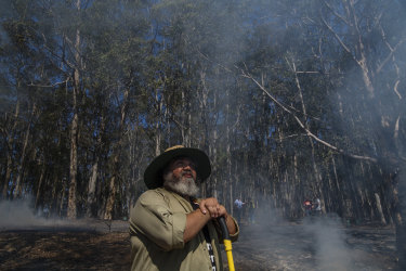 Jason Sharp is one of the local Indigenous men involved in the cultural burning at Bundanon on the NSW South Coast.