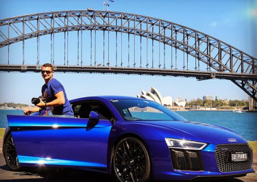 Anthony Koletti with the Audi which is included in the Caddick asset pool.