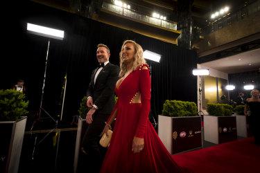 Nathan Buckley and Tanya Buckley at the Brownlow red carpet.